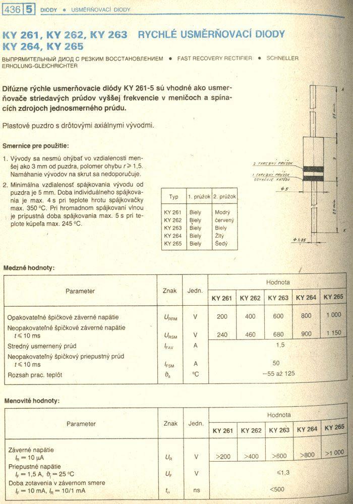 KY263 dioda rychlá 600V/1,5A  500ns DO27C