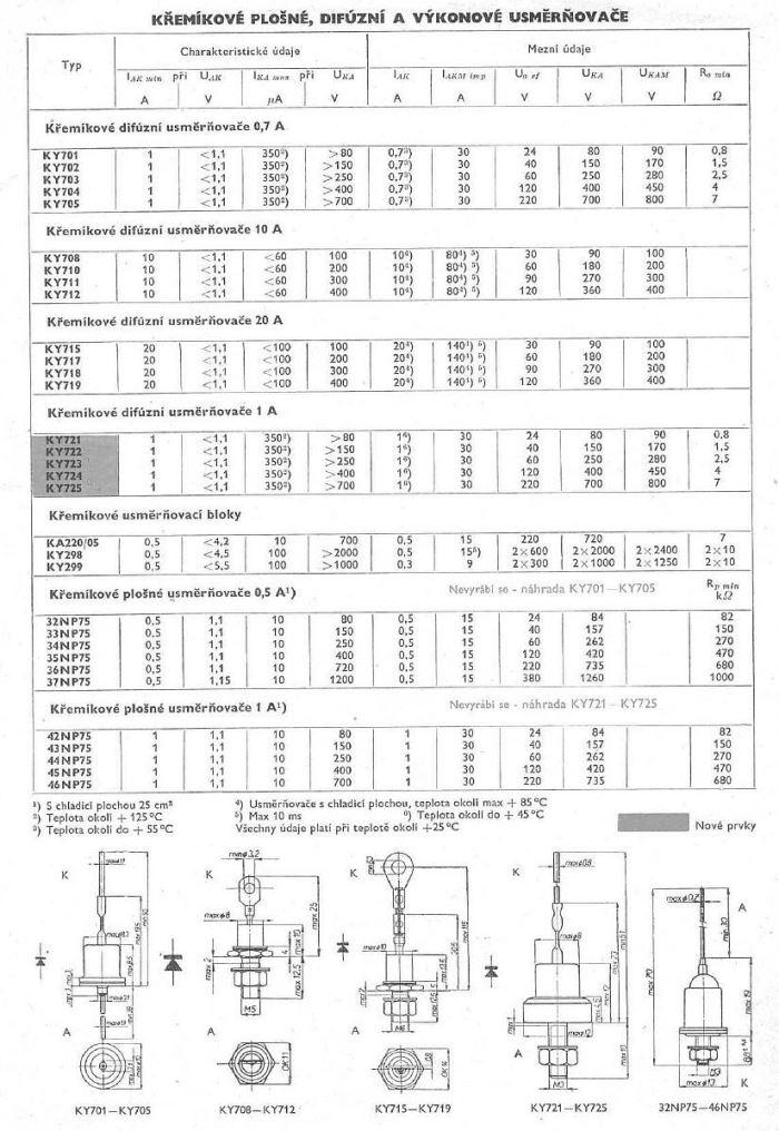 KY704F dioda uni 0,7A/400V, balení 100ks