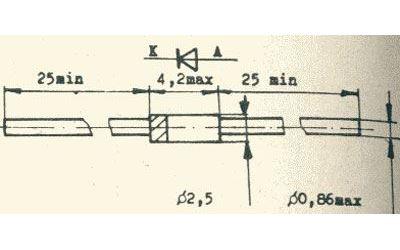 KAS22 -  dioda schottky 50V/800mA   DO41