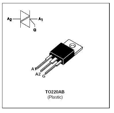 Triak BTA12-600B 600V/12A, Igt=50mA       TO220AB