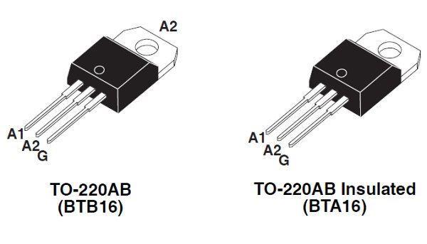 Triak BTA16-600B 600V/16A, Igt 35mA TO220