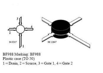 BF988 N FET 12V/30nA 0,2W 800MHz dualgate UHF - vVISHAY