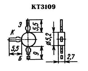 KT3109A P vf 25V/0,05A 0,17W 800MHz  SOT37 /~BF680,2SA983/