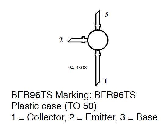 BFR96T N VF 20V/0,075A 0,5W 5GHz  TO50