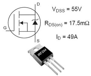 IRFZ44 N FET 60V/46A 150W 28mOhm TO220   =RFP50N06