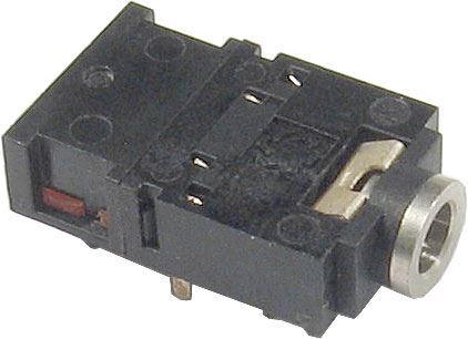 JACK zdířka 3,5 stereo do plošného spoje, 2x přepínací kontakt