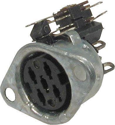 DIN zdířka Unitra GN590-1 5pol.panelová s vypínačem