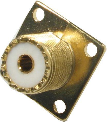 UHF zdířka na panel (upevnění šroubky), zlacená
