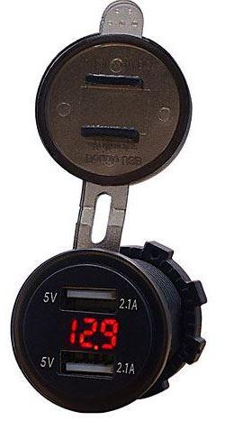Napájecí zdířka 2xUSB 5V/2,1A s voltmetrem