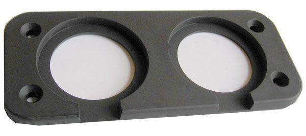 Rámeček dvojitý pro zdířky 12V, 2xUSB a V-metr R002