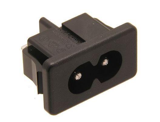 Síťová vidlice mini 230V k počítači panelová IEC60320 C8