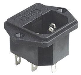 Síťová zásuvka IEC60320 230V na panel s pojistkovým pouzdrem /AS07/