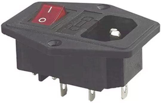 Síťový konektor IEC60320 230V na panel, poj.pouzdro, vypínač /AS10E/