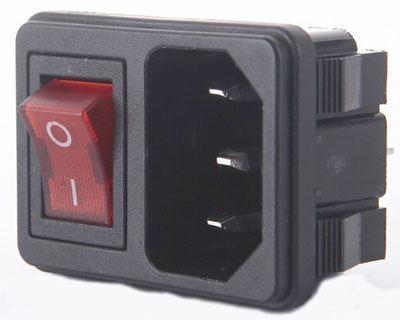 Síťový konektor IEC60320 230V na panel s vypínačem /AS09/