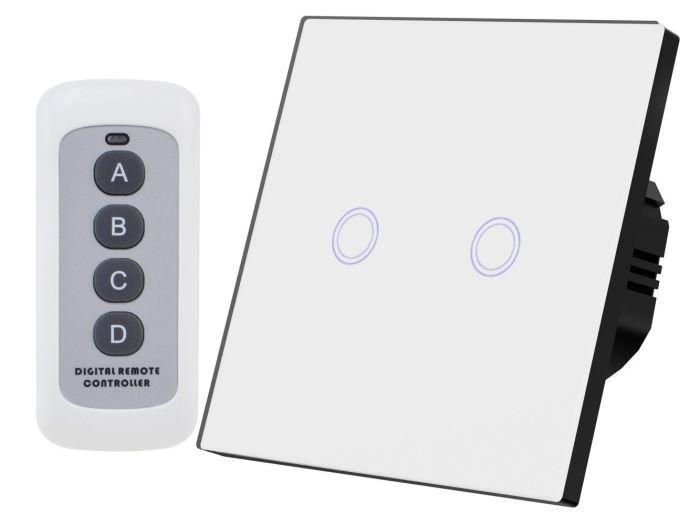 Dotykový vypínač osvětlení č. 5, bílý s dálkovým ovládačem