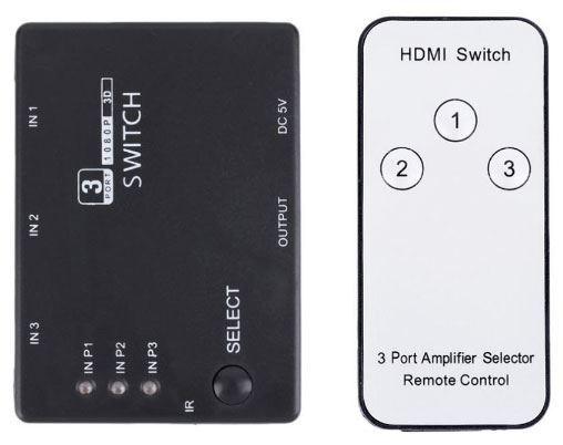 HDMI přepínač / switch  3x HDMI s ovládačem PS3