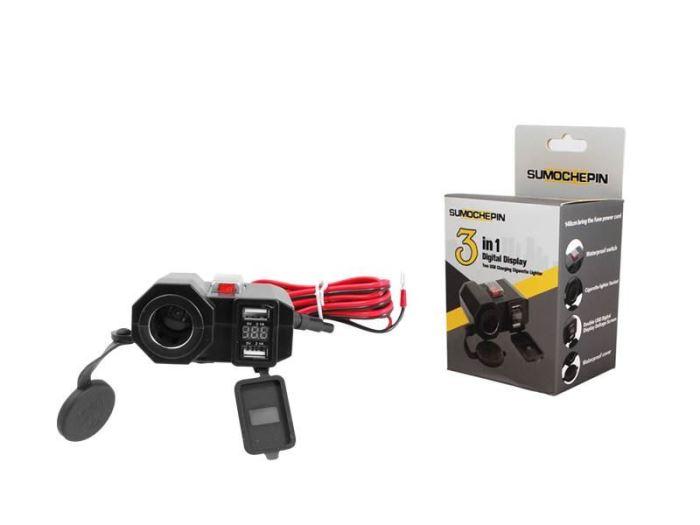 Zásuvka 12V+ 2 x USB pro motocykl vodotěsná