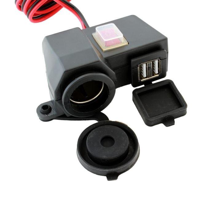 Zásuvka 12V+ 2 x USB pro motocykl vodotěsná s vypínačem