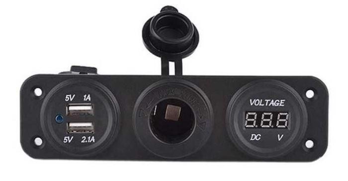 Vodotěsná 12 V zásuvka + USB zásuvka + voltmetr