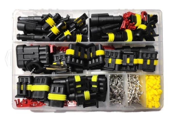 Sada vodotěsných konektorů do auta AMP Tyco, celkem 353komponentů