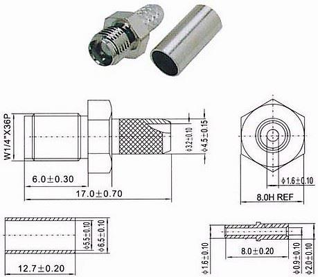 SMA zdířka na koax 3mm(RG174,188,316/U) lisovací