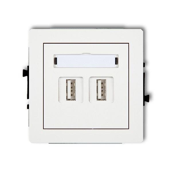 Zásuvka 2x USB-AA2.0, bílá, DECO Karlik