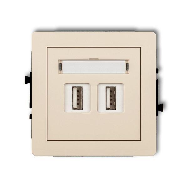 Zásuvka 2x USB-AA2.0, béžová, DECO Karlik