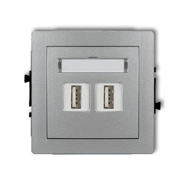 Zásuvka 2x USB-AA2.0, stříbrná metalická, DECO Karlik