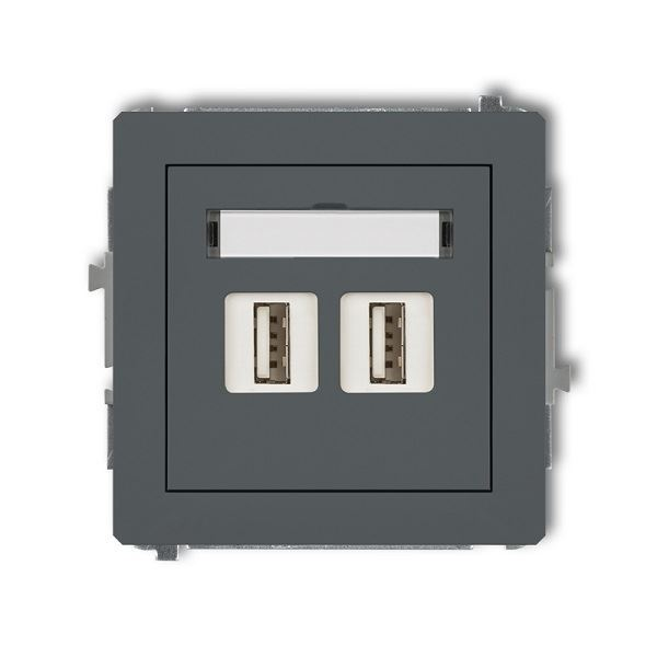 Zásuvka 2x USB-AA2.0, grafitová mat, DECO Karlik