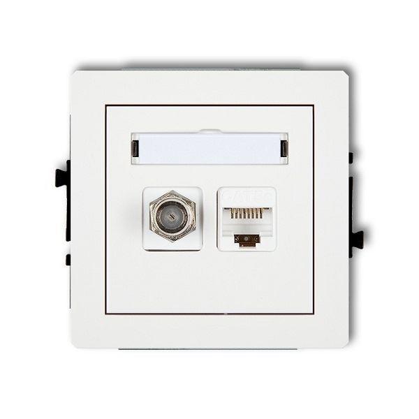 Účastnická zásuvka koncová F-konektor(SAT) + 1xRJ45, bílá, DECO KARLIK