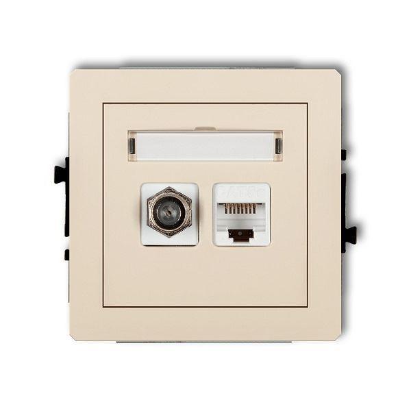 Účastnická zásuvka koncová F-konektor(SAT) + 1xRJ45, béžová, DECO KARL