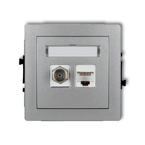 Účastnická zásuvka koncová F-konektor(SAT) + 1xRJ45, stříbrná, DECO KA