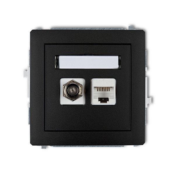 Účastnická zásuvka koncová F-konektor(SAT) + 1xRJ45, černá, DECO Karli