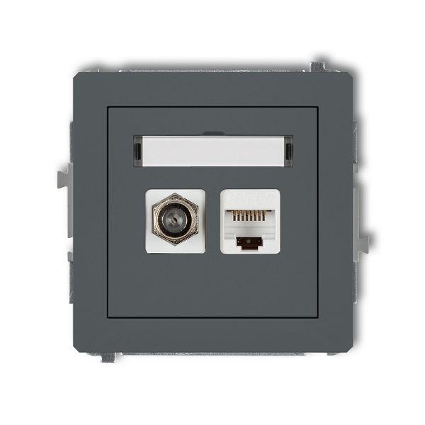 Účastnická zásuvka koncová F-konektor(SAT) + 1xRJ45, grafit., DECO Kar