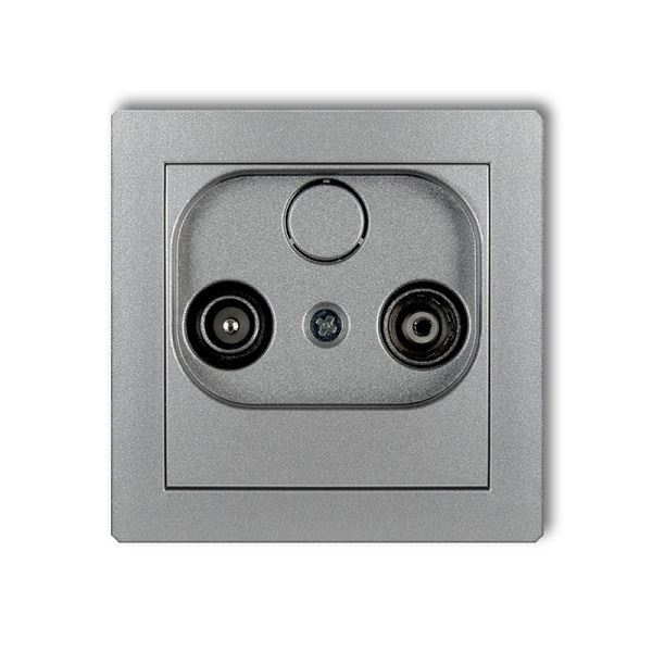 Účastnická zásuvka průchozí, 9dB, stříbrná metalická, DECO Karlik
