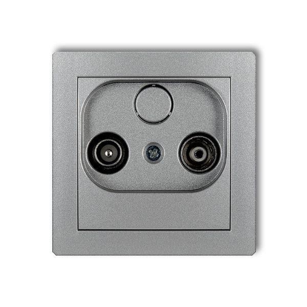 Účastnická zásuvka koncová, 2dB, stříbrná metalická, DECO Karlik
