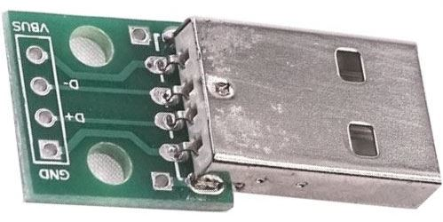 USB A, konektor na plošném spoji