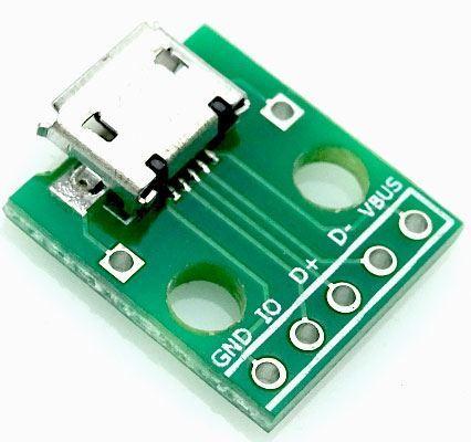 USB micro, zdířka na plošném spoji