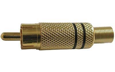 CINCH konektor kovový zlacený,černý proužek