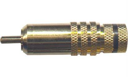 CINCH konektor ,kovový,zlacený,černý proužek