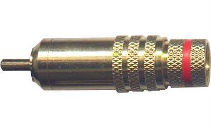 CINCH konektor zlacený, kabel do 8mm, červený proužek