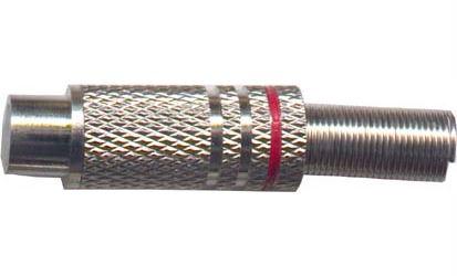 CINCH zdířka kabelová kovová,červený proužek