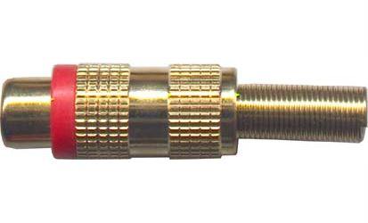 CINCH zdířka kovová zlacená,červený proužek