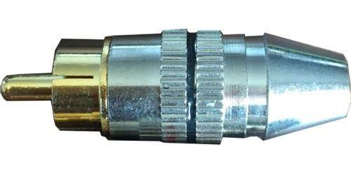 CINCH konektor kov.nikl.pro kabel 5mm,černý prouž.