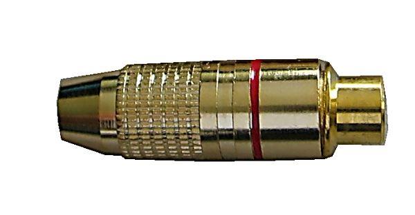 CINCH zdířka zlacená,kabel 4-5mm,červený proužek