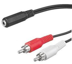 Redukce 2x CINCH konektor/ Jack 3,5mm zdířka, káblík 1,5m