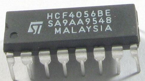 4056 - dekodér BCD a budič pro 7-segment.displej, DIL16 /HCF4056/