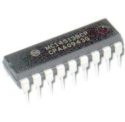 4513 - BCD dek./střadač/budič 7segment, DIL18 /MC14513BCP/