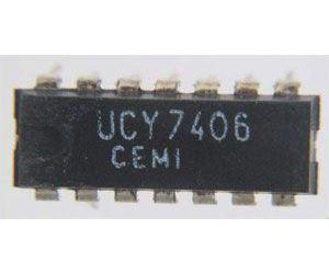 7406 6x invertor s otevřeným kolektorem, DIL14 /UCY7406/