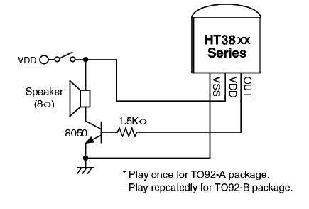 HT3820T - generátor melodie Low me tender, TO-92